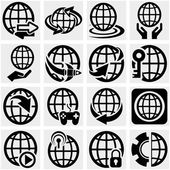 Globe earth vector icon set on gray — Stock Vector