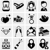 Wedding vector icon set on gray — Stock Vector