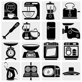 Household kitchen aplliance vector icons — Stock Vector