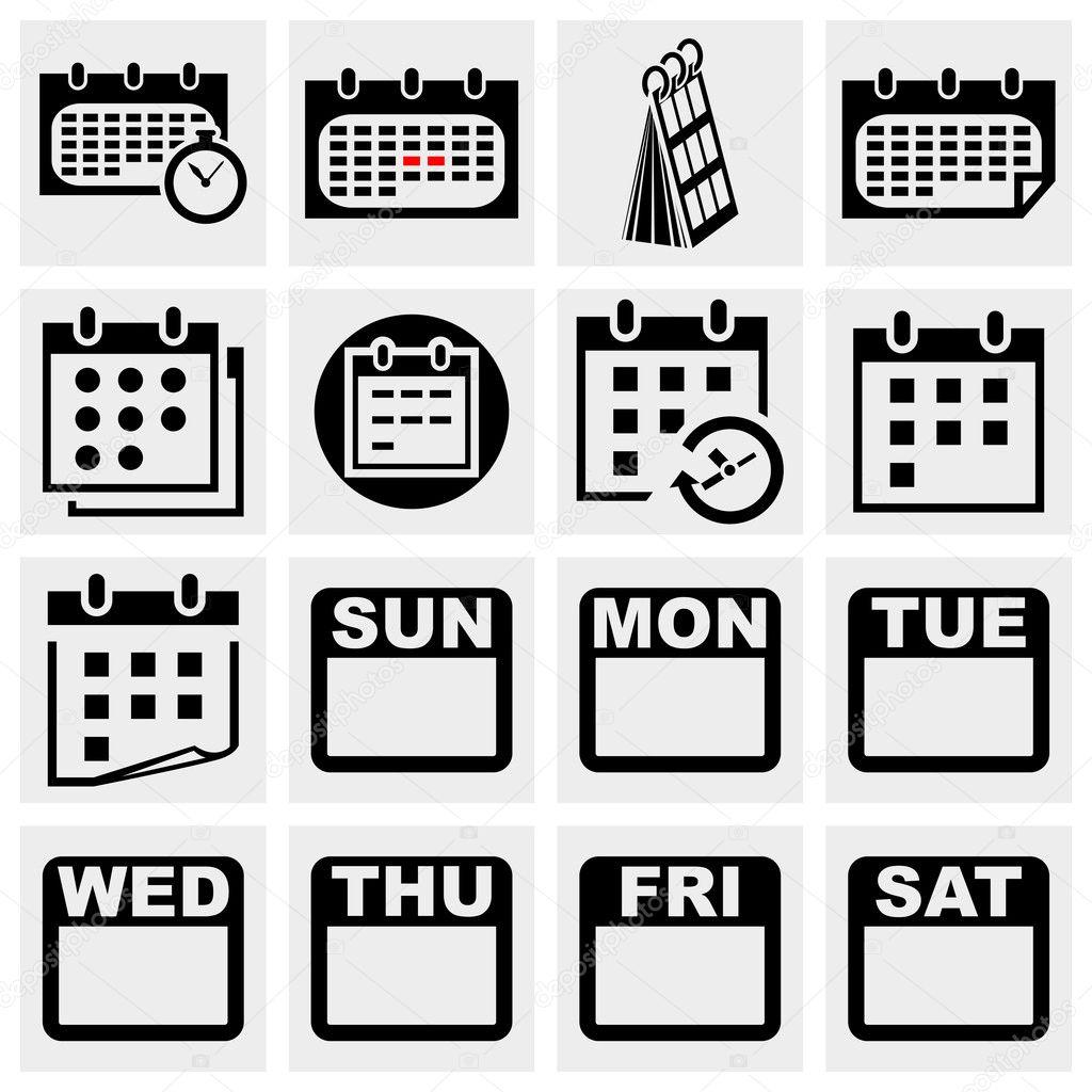 Calendar Pages Vector : Calendar vector icons set — stock alexynder