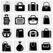 Shopping bag vector icons set on gray. — Stock Vector