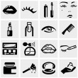 Cosmetics vector icons set on gray. — Stock Vector