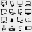 Computers vector icons set on gray.  — Stock Vector
