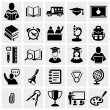 School and Education vector icons set on gray. — Stock Vector