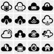 Cloud vector icons set on gray. — Stock Vector #32079465