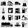 Stock Vector: Oil vector icons set on gray.