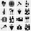 Wine vector icons set on gray — Stock Vector