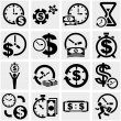 Stock Vector: Time is money vector icons set on gray