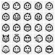 Stock Vector: Smiley faces vector icons set on gray