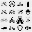 Biking vector icons set on gray. — Stock Vector