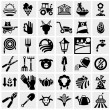 Farm and agriculture vector icons set on gray  — Stockvektor