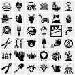 Farm and agriculture vector icons set on gray — Vector de stock #32079689