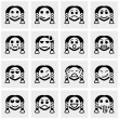 Smiley faces vector icons set on gray — Stock Vector