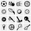 Sports vector icons set on gray. — Stock Vector