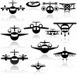 Airplane vector icons set. EPS 10  — Stock Vector