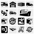 Logistic and shipping vector icons set on gray.  — Stock Vector