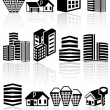 Buildings vector icons set. EPS 10.  — Stock Vector
