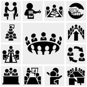 Business man vector icons set on gray — Stock Vector