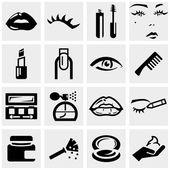 Cosmetics vector icons set on gray. — Stock Vector