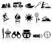 Camping vector icons set. EPS 10. — Stock Vector