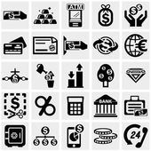 Business & Finance vector icons set on gray — Stock Vector