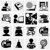 Education vector icons set on gray. — Stock Vector