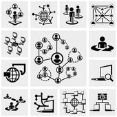 Network vector icons set on gray — Stock Vector