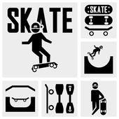 скейтбордисты векторные иконки на серый — Cтоковый вектор