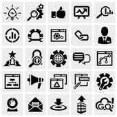 SEO vector icons set on gray. — Stock Vector