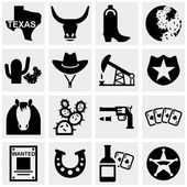Texas vector icons set on gray. — Stok Vektör