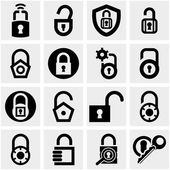 Lock vector icons set on gray. — Stock Vector