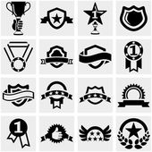 Trophy and awards vector icons set on gray. — Stock Vector