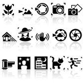 Photo vector icons set. EPS 10. — Stock Vector