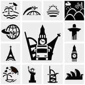 Travel vector icons set on gray — Stock Vector