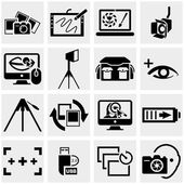 Photo vector icons set on gray — Stock Vector