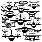 Airplane vector icons set — Stock Vector
