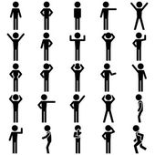 Stick figure positions set vector icon. — Stock Vector