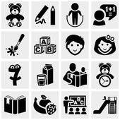 Preschool vector icons set on gray. — Stock Vector