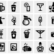 Постер, плакат: Vector black drinks & beverages vector icon set on gray