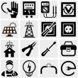 Energy, electricity, power vector icons set. — Stock Vector
