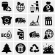 Garbage vector icons set on gray — Stock Vector