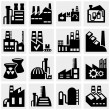 Factory, power plants, industrial buildings and pollution vector icon set on gray — Stock Vector