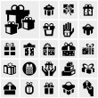 Gift box vector icons set on gray — Stock vektor