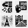 Paris vector icons set on gray. — Stock Vector