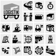 Stock Vector: Logistics vector icon set on gray