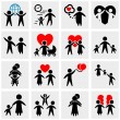 People Family Pictogram. Set web icon — Vettoriale Stock