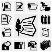 Document vector icons set on gray. — Stock Vector