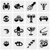 Apanese food sushi collection vector icon set on gray — Stock Vector