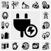 Electricity vector icon set — Stock Vector