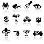 Sea food vector icon set — Stock Vector